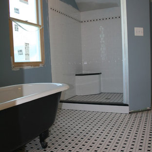 Inspiration for a large timeless master white tile and porcelain tile ceramic floor bathroom remodel in DC Metro with blue walls