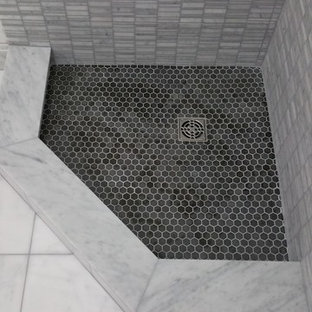Inspiration for a small transitional 3/4 black tile, gray tile and mosaic tile mosaic tile floor corner shower remodel in Baltimore with gray walls