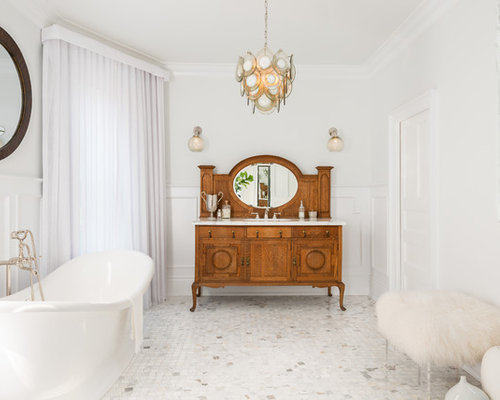 Mid Sized Victorian Master Marble Floor And White Floor Freestanding  Bathtub Idea In Toronto With