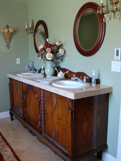 Victorian Bathroom Idea In Portland With A Drop In Sink, Furniture Like  Cabinets