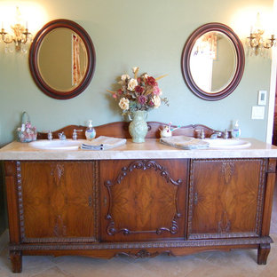 Inspiration for a timeless bathroom remodel in Portland with a drop-in sink and furniture-like cabinets