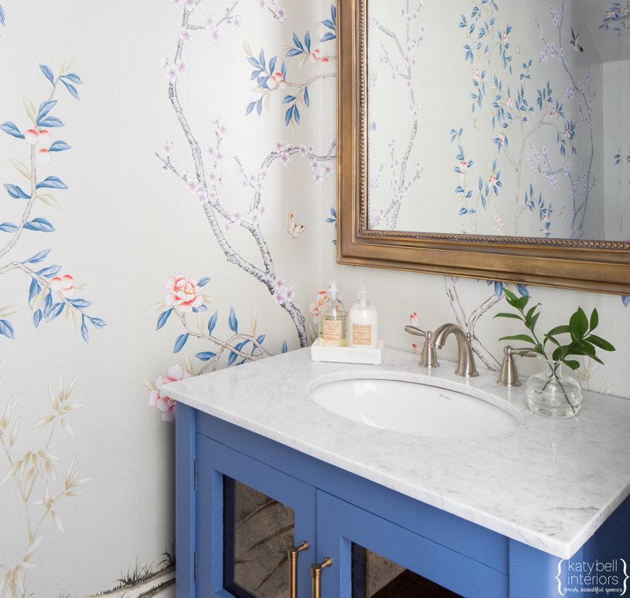 Antiqued Mirror Doors, Custom Blue Paint, Hand Painted Floral Wallpaper