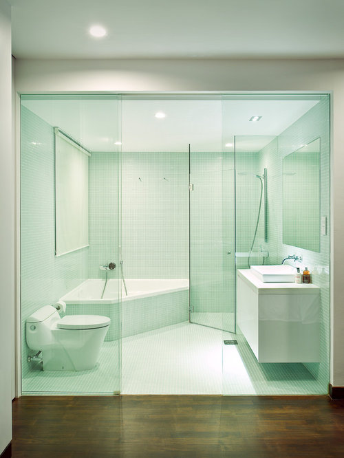 Fotos de ba os dise os de ba os verdes con ba era esquinera for Esquineras para banos