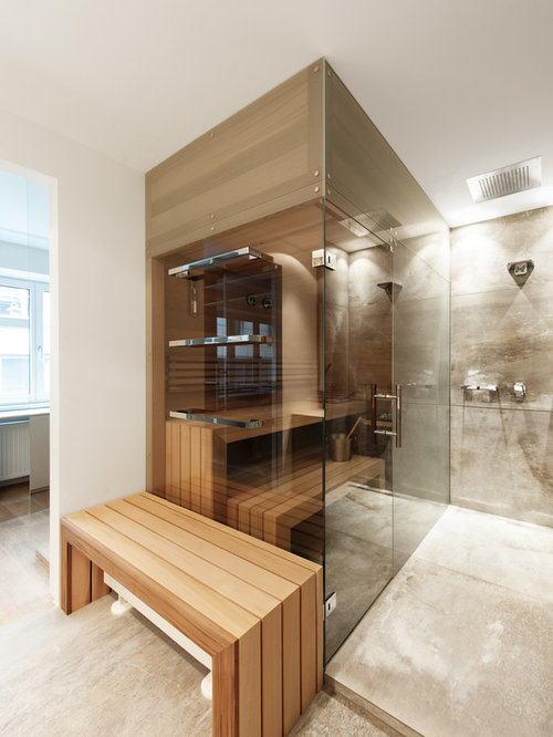 sauna moderne avec une douche ouverte photos et id es d co de saunas. Black Bedroom Furniture Sets. Home Design Ideas