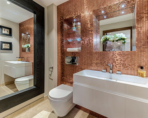 Design Ideas For A Medium Sized Contemporary Bathroom In London With Open Cabinets Wall
