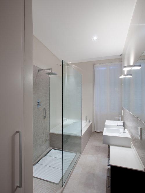 Bagno moderno con piastrelle beige - Foto, Idee, Arredamento
