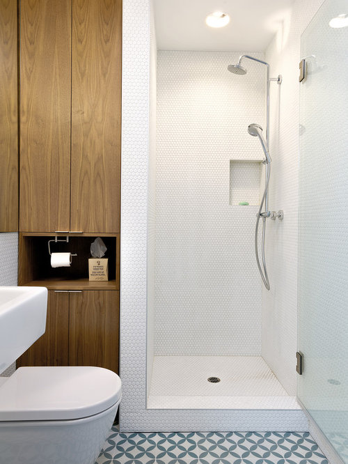 Penny Round Tiled Shower Pan Ideas, Pictures, Remodel and Decor