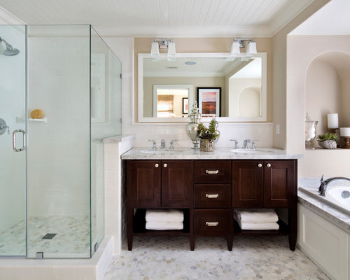 Captivating Elegant Master Bathroom Photo In San Francisco With An Undermount Sink, Dark  Wood Cabinets, Part 7