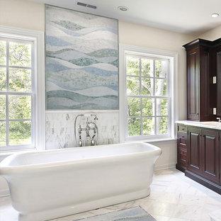 Trendy freestanding bathtub photo in New York