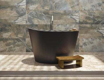Aquatica True Ofuro Black Freestanding Stone Japanese Soaking Tub