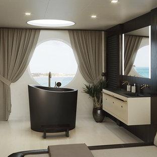 Diseño de cuarto de baño principal, asiático, pequeño, con bañera japonesa