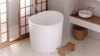 Aquatica True Ofuro Mini Freestanding Stone Japanese Soaking Bathtub