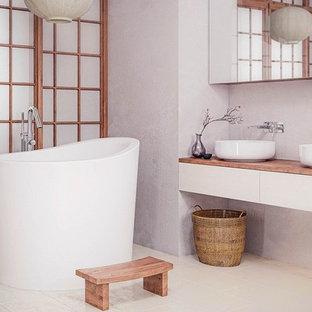 Imagen de cuarto de baño principal, de estilo zen, pequeño, con bañera japonesa