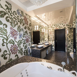 Tub/shower combo - large eclectic master tub/shower combo idea in Palma de Mallorca with a hot tub, multicolored walls and a vessel sink