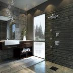 Mountain Contemporary Custom Home Master Tub