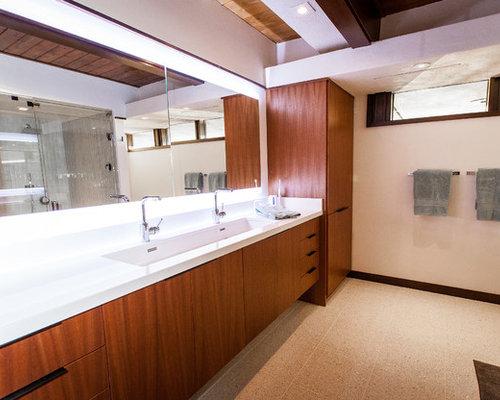 mid century badezimmer mit terrazzo boden design ideen. Black Bedroom Furniture Sets. Home Design Ideas