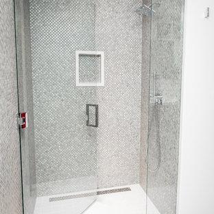 Midcentury Master Bathroom In Salt Lake City With Flat Panel Cabinets Medium Wood