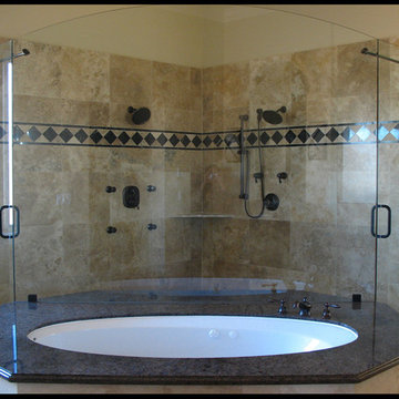Archtop Panel over Bathtub, Dual Entrance Shower