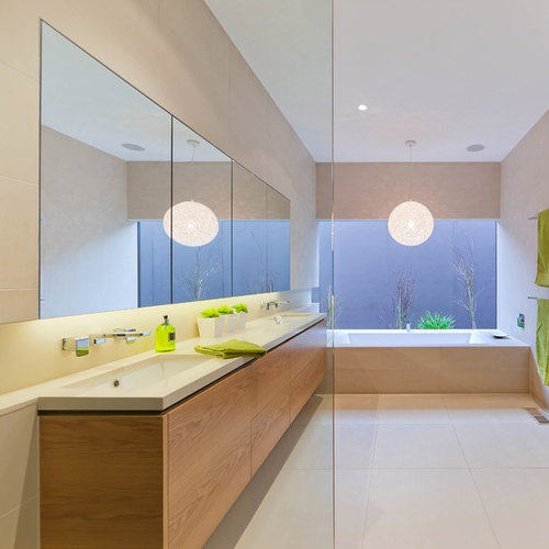 modern bathroom design pictures. Photo Of A Modern Bathroom In Melbourne With An Undermount Sink, Flat-panel Cabinets Design Pictures