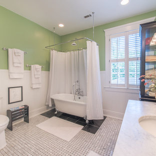 Example of a classic marble floor and white floor bathroom design in Atlanta with green walls, an undermount sink and white countertops