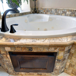 Bathroom Traditional Black Tile And Stone Idea In Dallas With An Undermount Sink
