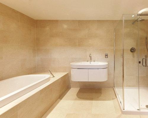 West Midlands Bathroom Design Ideas Renovations Photos With Travertine Flooring