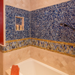 Large tuscan master blue tile and ceramic tile ceramic floor bathroom photo in Denver with an undermount sink, medium tone wood cabinets, red walls, flat-panel cabinets and engineered quartz countertops