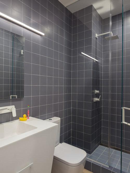Mid Sized Trendy Kids Blue Tile And Ceramic Light Wood Floor Beige