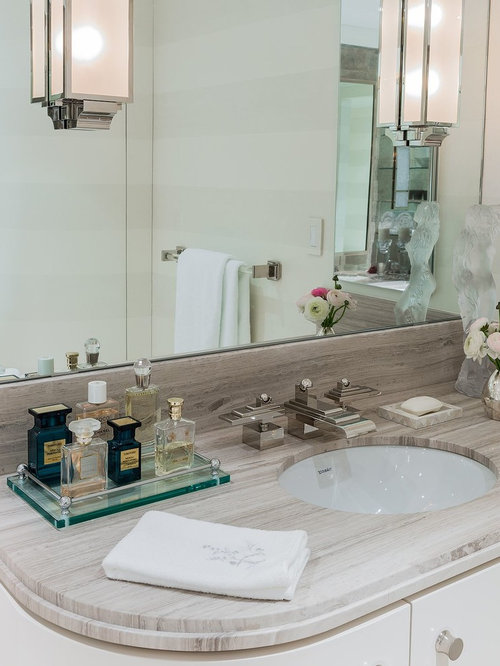 Example Of A Large Transitional Bathroom Design In Boston With An Undermount Sink Flat