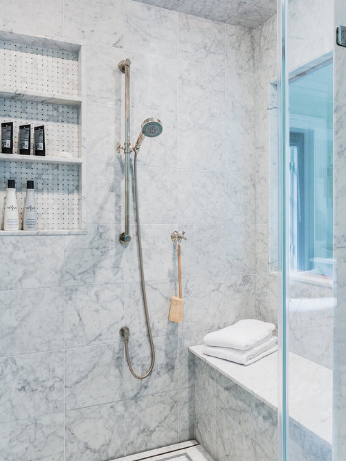 Inspiration for a mid sized timeless master open shower remodel in Boston  with white tileMarble Shower Niche   Houzz. Marble Walls For Shower. Home Design Ideas