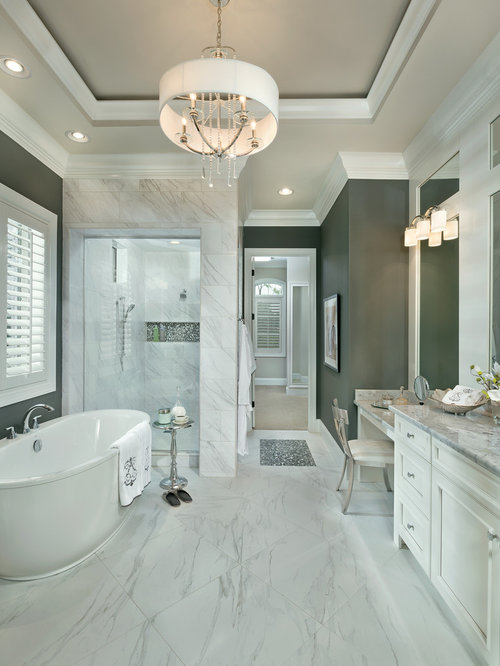 large transitional master bathroom idea in cincinnati with an undermount sink recessed panel cabinets
