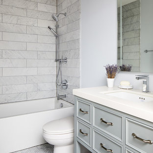 Inspiration For A Mid Sized Transitional Kidsu0027 Gray Tile And Marble Tile  Marble Floor