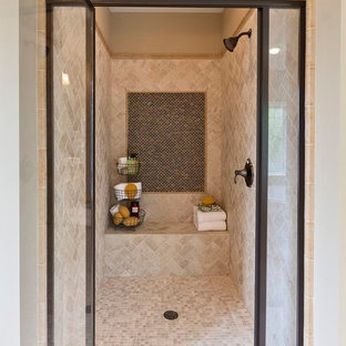 Elegant beige tile alcove shower photo in Atlanta