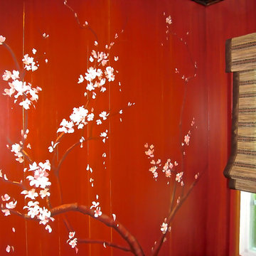 Asian Cherry Blossom Walls/Powder Room