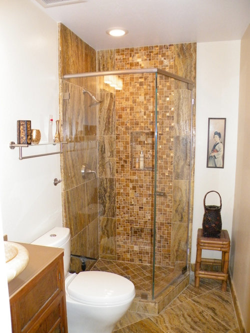 Eco Friendly Corner Shower Design Ideas Remodels Photos With Travertine Tile