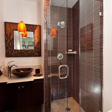 Asian-inspired Narrow Tiled Bathroom