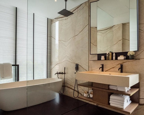 Trendy Bathroom Photo In Singapore With Open Cabinets, Medium Tone Wood  Cabinets, Beige Walls