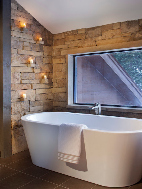 Stone backsplash around tub houzz for Deep built in bathtubs