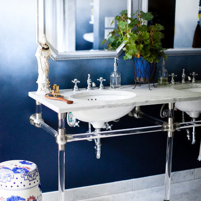 Bathroom - mid-sized eclectic master marble floor and gray floor bathroom idea in Austin with blue walls, an undermount sink, marble countertops and white countertops