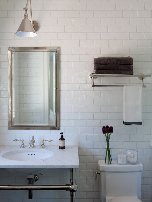 Mid-sized trendy white tile and subway tile bathroom photo in San Francisco  with a