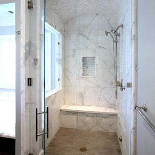 Traditional bathroom in San Francisco with an alcove shower, white tiles and marble tiles.