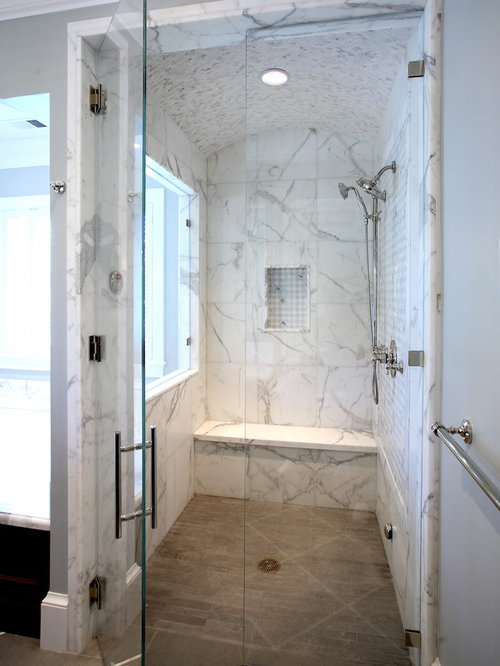 High Quality Inspiration For A Timeless White Tile And Marble Tile Alcove Shower Remodel  In San Francisco