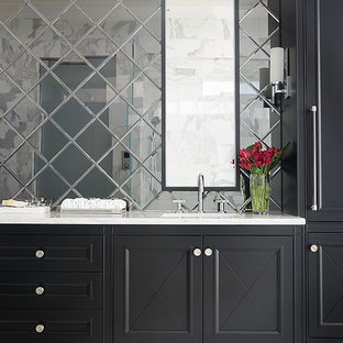 Example of a large transitional master mirror tile marble floor bathroom design in Atlanta with an undermount sink, marble countertops, white walls, furniture-like cabinets and black cabinets