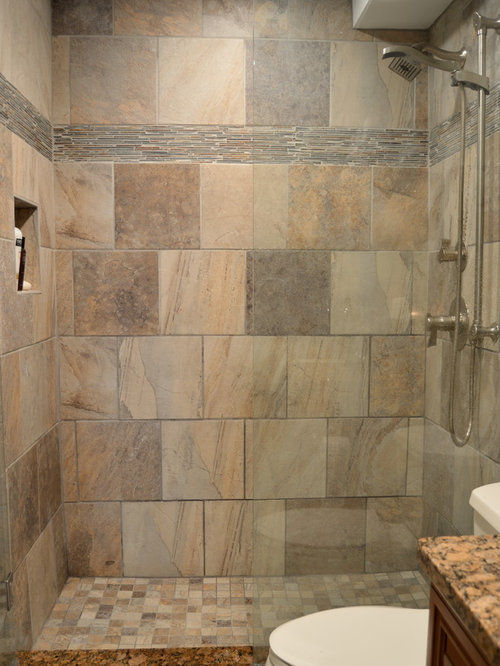 Bathroom design ideas renovations photos with slate for Rustic tile bathroom ideas