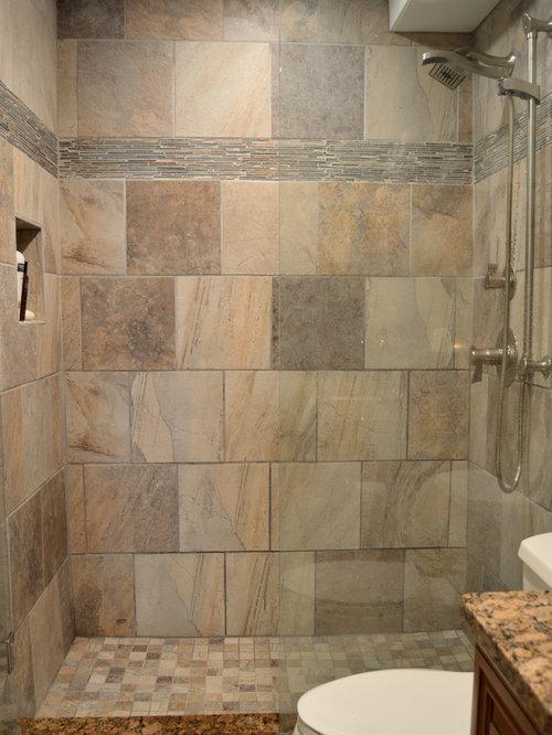 Bathroom design ideas renovations photos with slate for Rustic tile bathroom ideas