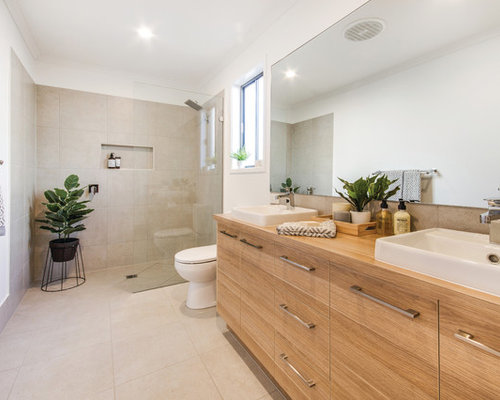 Contemporary Master Bathroom In Sunshine Coast With An Open Shower, A  One Piece Toilet