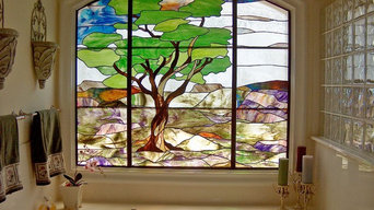 """Austin Oak"" bathroom stained glass window"