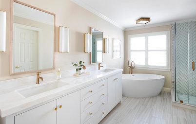 Before and After: Brass Warms a White-and-Gray Bathroom