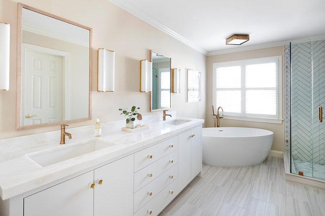 Transitional Bathroom by Elizabeth Lawson Design