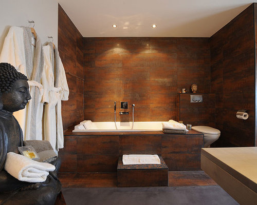 Inspiration For A Master Porcelain Tile And Brown Tile Concrete Floor  Bathroom Remodel In Montreal With